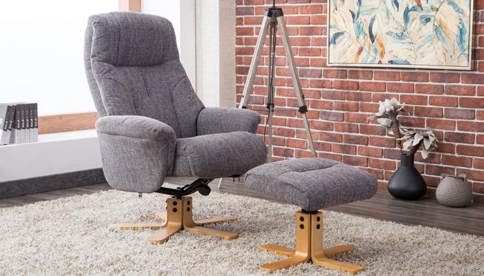 Recliner Swivel Chair & Footstool - Grey
