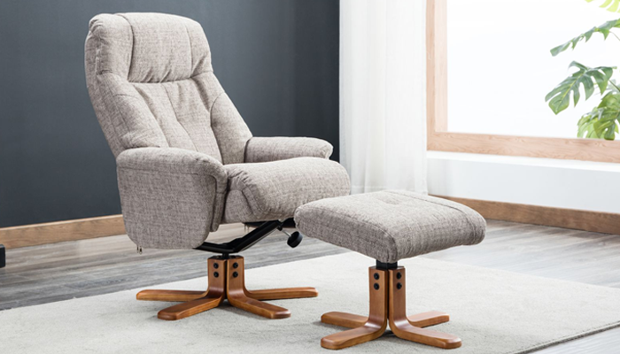 Recliner Swivel Chair & Footstool - Mocha