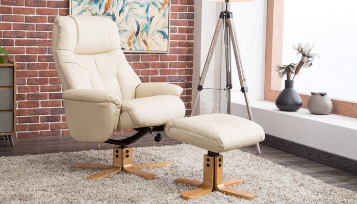 Recliner Swivel Chair & Footstool - Cream
