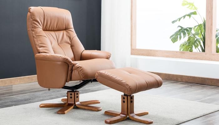 Recliner Swivel Chair & Footstool - Tan
