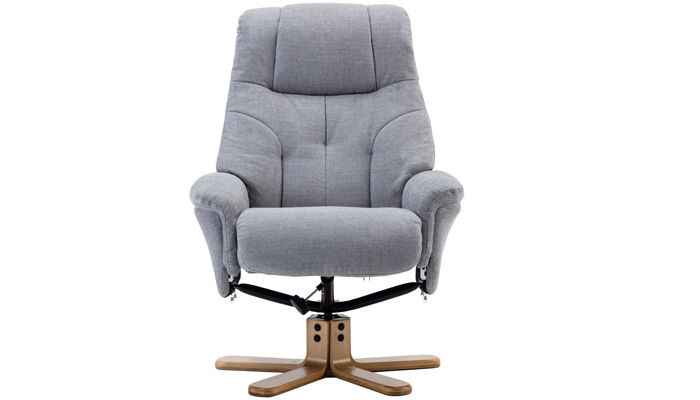 Recliner Swivel Chair & Footstool - Silver