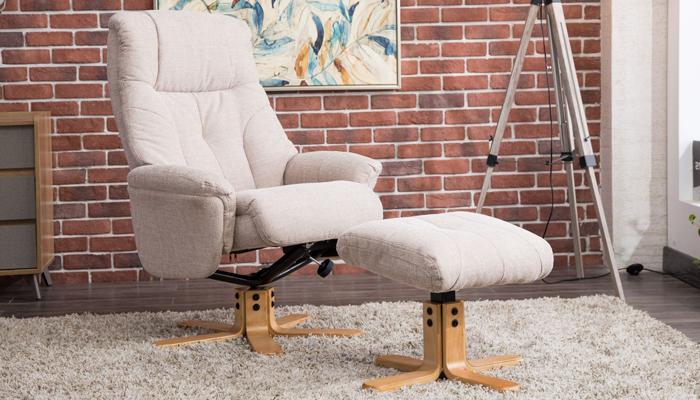 Recliner Swivel Chair & Footstool - Wheat