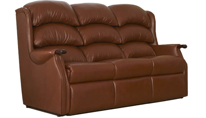 Westbury Leather 3 Seater Fixed Sofa