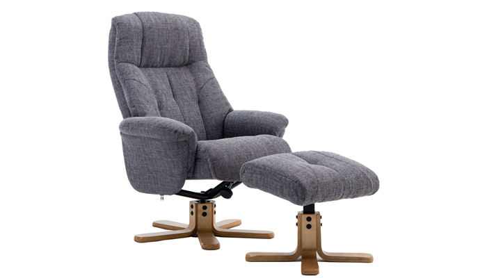 Dubai Swivel Chair & Footstool - Grey
