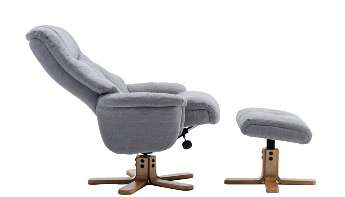 Dubai Swivel Chair & Footstool - Silver