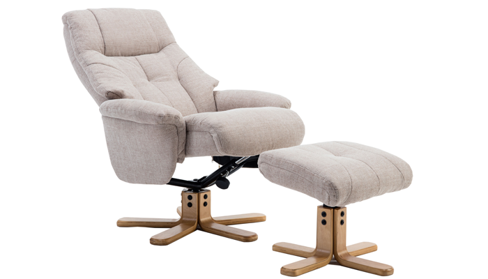 Dubai Swivel Chair & Footstool - Wheat